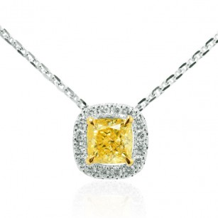Fancy Intense Yellow Cushion Diamond Halo Pendant, SKU 108595 (0.52Ct TW)