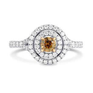 Fancy Deep Brown Round Diamond Double Halo Ring, SKU 113261 (0.65Ct TW)