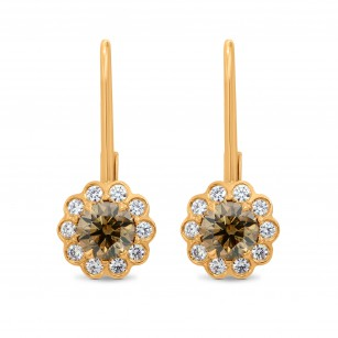 Fancy Brown Round Diamond Drop Floral Earrings - Praline Collection, SKU 113642 (1.46Ct TW)