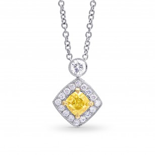 Fancy Intense Yellow Cushion Diamond Drop Pendant, SKU 115742 (0.68Ct TW)