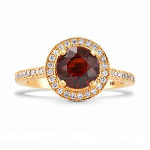Rose Gold Red Garnet & Diamond Halo Ring, SKU 117634 (2.15Ct TW)