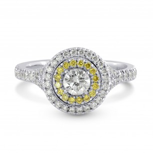 Platinum Collection Color and Fancy Vivid Yellow Diamond Double Halo Ring, SKU 119271 (0.74Ct TW)