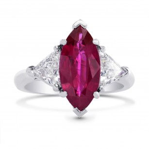 2.72CT Red Marquise Ruby and Triangle Diamond Ring, SKU 120224 (3.83Ct TW)
