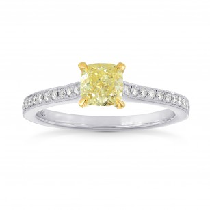 Fancy Yellow Cushion Diamond Pave Milgrain Ring, SKU 121030 (0.94Ct TW)