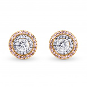 Round Colorless and Pink Diamond Double Halo Earrings, SKU 122673 (0.97Ct TW)