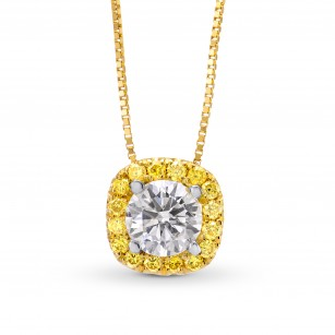 White and Fancy Vivid Yellow Diamond Pendant, SKU 126457 (0.45Ct TW)