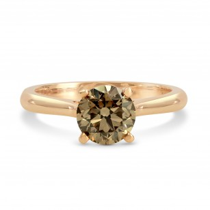 Fancy Yellow Brown Diamond Rose Gold Solitaire Ring, SKU 128382