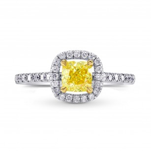 Fancy Yellow Cushion Diamond Halo Ring, SKU 129453 (0.99Ct TW)