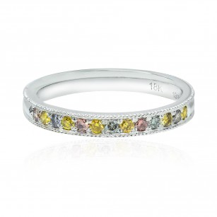 Lilies Collection- Multicolor Diamond Milgrain Band Ring, SKU 131602 (0.24Ct TW)