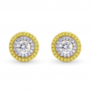 White and Fancy Intense Yellow Halo Earrings, SKU 134296 (1.08Ct TW)