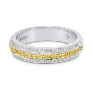 Fancy Intense Yellow and White Pave Diamond Milgrain Band Ring, SKU 134306 (0.67Ct TW)