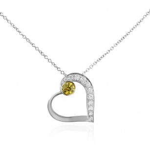 Fancy Intense Yellow and White Diamond Heart Pendant, SKU 136117 (0.15Ct TW)