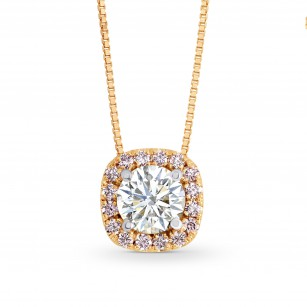 White and Pink Diamond Cushion Halo Pendant, SKU 137942 (0.5Ct TW)