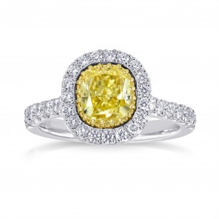 Fancy Intense Yellow Cushion Diamond Halo Ring, SKU 142534 (1.69Ct TW)
