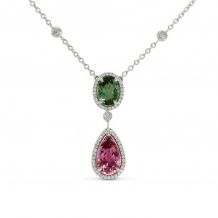 Green and Pink Tourmaline Diamond Pendant, SKU 144297 (3.90Ct TW)