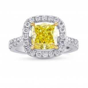 Fancy Intense Yellow Cushion Diamond Ring, SKU 144778 (2.33Ct TW)