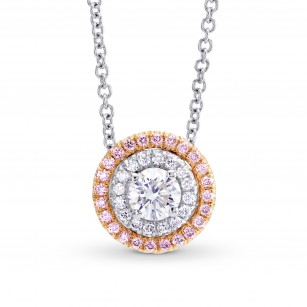 Round White and Fancy Light Pink Diamond Double Halo Pendant, SKU 144855 (0.56Ct TW)