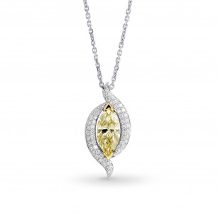 Fancy light yellow marquise diamond and pave pendant, SKU 144892