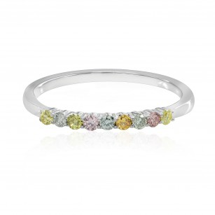 9 Stone Multicolored Diamond Stackable Band Ring, SKU 144990 (0.19Ct TW)