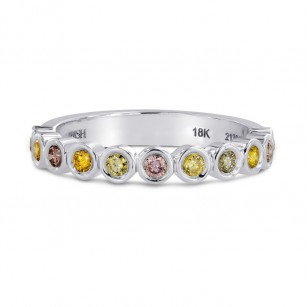 11 Stone Multicolored Diamond Stackable Bezel Band Ring, SKU 144991 (0.35Ct TW)