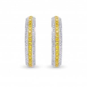 Fancy Intense Yellow and White Pave Diamond Hoop Earrings, SKU 145978 (1.14Ct TW)