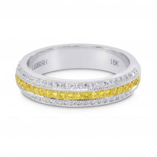 Fancy Vivid Yellow and White Pave Diamond Milgrain Band Ring, SKU 147887 (0.69Ct TW)