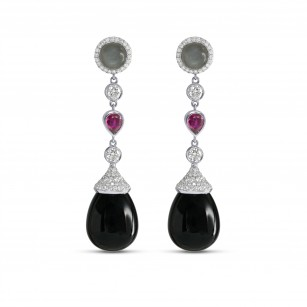 Onyx Ruby Moonstone Diamond Drop Earrings, SKU 151545 (46.83Ct TW)