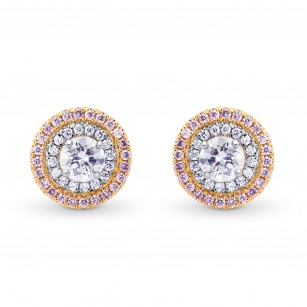 White and Pink Diamond Double Halo Earrings, SKU 155257 (1.07Ct TW)
