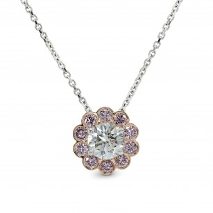 White and Pink Diamond Floral Halo Pendant, SKU 159815 (0.75Ct TW)