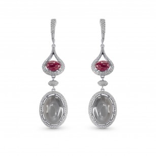 Ruby Morganite and Diamond Drop Earrings, SKU 160101 (16.33Ct TW)