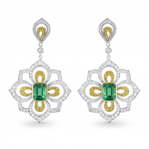 Emerald and Fancy Intense Yellow Diamond Drop Earrings, SKU 160164 (5.82Ct TW)