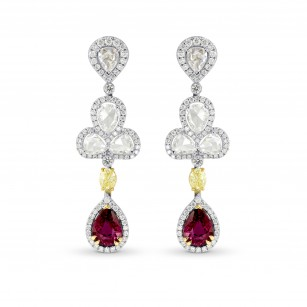 Extraordinary Ruby & Fancy Yellow Diamond Drop Earrings, SKU 162720 (6.89Ct TW)