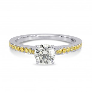 Round White and Fancy Intense Yellow Diamond Pave Engagement Ring, SKU 164329 (0.71Ct TW)