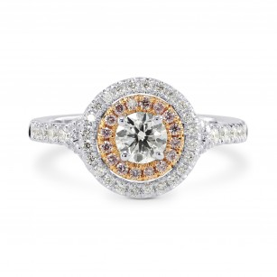 Round White and Pink Diamond Double Halo Ring, SKU 166378 (0.68Ct TW)