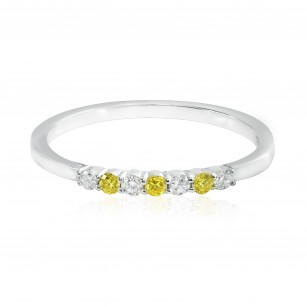 Fancy Vivid Yellow and White Diamond 7 Stone Stacking Band Ring, SKU 166380 (0.15Ct TW)