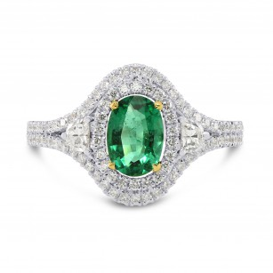 Vivid Green Oval Emerald and Diamond Ring, SKU 170554 (1.23Ct TW)