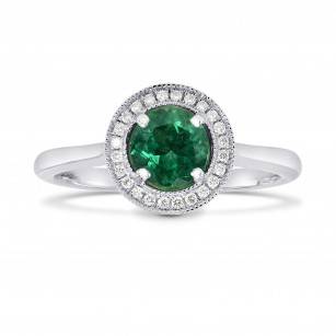 Round Emerald and Diamond Milgrain Halo Ring, SKU 170557 (0.56Ct TW)