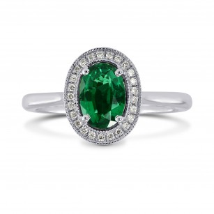 Oval Green Emerald & Diamond Engagement Ring, SKU 170558 (0.64Ct TW)