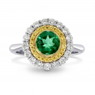 Round Emerald & Yellow Diamond Double Halo Ring, SKU 170561 (1.11Ct TW)
