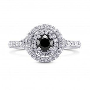Black Diamond Double Halo Ring, SKU 170586 (0.71Ct TW)