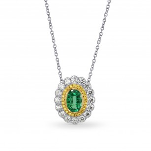 Oval Emerald and Fancy Intense Yellow Diamond Pendant, SKU 170927 (1.13Ct TW)