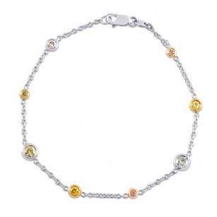 'Les Bonbons' - Fancy Color Candy Round Brilliant Chain Bracelet, SKU 17237 (0.62Ct TW)