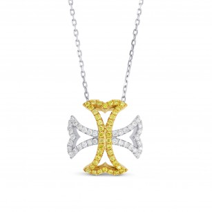 Fancy Vivid Yellow and Collection color Maltese Cross necklace, SKU 17252 (0.36Ct TW)