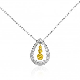 Drop Pendant with Fancy Vivid Yellow and Collection Round Diamonds 0.35Ct TW, SKU 17387 (0.35Ct TW)