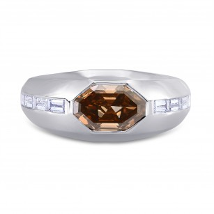 Mens Fancy Orange Brown Octagon Diamond Ring, SKU 177758 (3.14Ct TW)