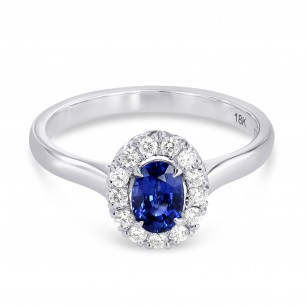 Sapphire and Diamond Halo Ring, SKU 177793 (0.87Ct TW)