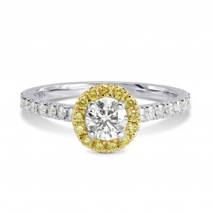 White and Fancy Intense Yellow Halo Ring, SKU 179091 (0.66Ct TW)