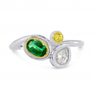 Emerald Gemstone, Vivid Yellow & White Diamond Ring, SKU 181841 (0.67Ct TW)
