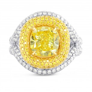 Fancy Vivid Yellow Cushion Diamond Halo Ring, SKU 185362 (5.66Ct TW)