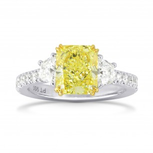 Fancy Intense Yellow Radiant & Trapezoid Diamond Ring, SKU 186930 (3.08Ct TW)